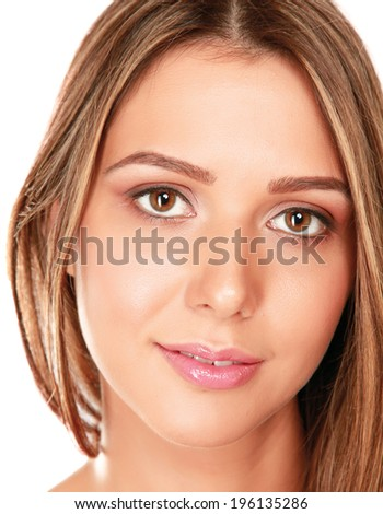 Closeup portrait of a young woman ,isolated on white background - stock photo