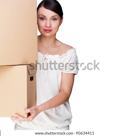 Closeup portrait of a young woman with boxes. Isolated on White background - stock photo