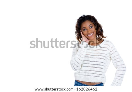 Closeup portrait of adorable charming upbeat smiling happy young woman hand on cheek looking at you camera gesture , isolated on white background copy space. Positive human emotions facial expressions - stock photo