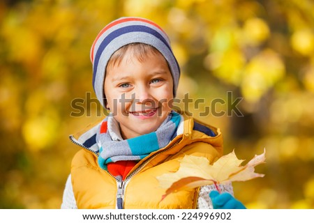Closeup portrait of Adorable cute boy with autumn leaves in the beautiful park - stock photo