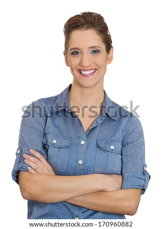 Closeup portrait of adorable, happy, young, business woman, successful student, hands crossed on chest, isolated on a white background. Positive human emotions, facial expressions, feelings, attitude. - stock photo