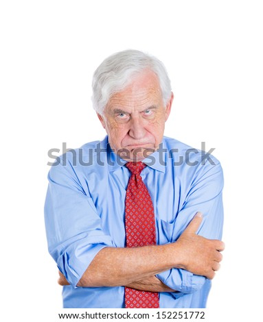 Closeup portrait of an angry, mad, annoyed senior businessman, isolated on white background . Human emotions and interpersonal conflict resolution. - stock photo