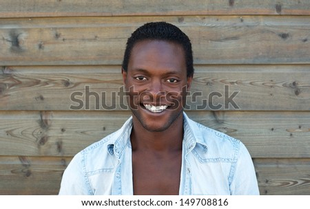 Closeup portrait of an attractive black man smiling