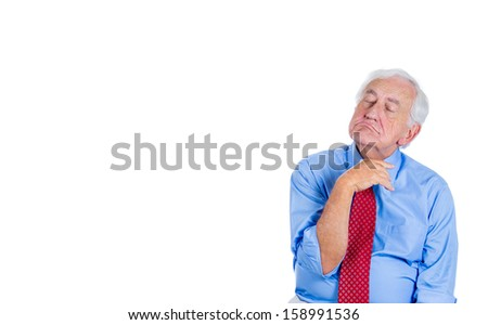 Closeup portrait of an elderly executive, old corporate employee, grandfather with closed eyes, in a melancholic mood, daydreaming, taking a nap, asleep, isolated on a white background with copy space - stock photo