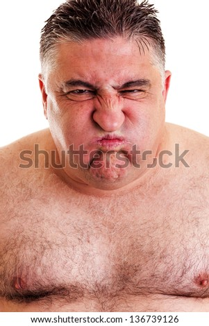 Closeup portrait of an expressive man over white background - stock photo