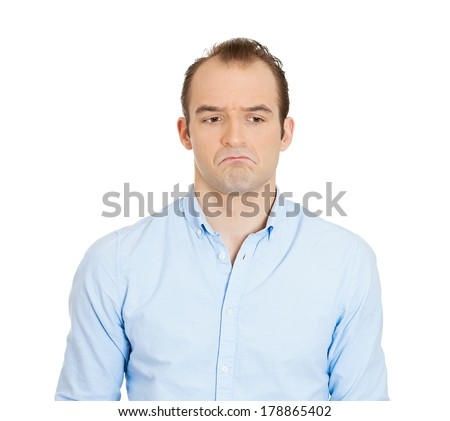 Closeup portrait of angry, mad, sad, annoyed, skeptical, grumpy business man, employee worker isolated on white background. Human emotions, face expression, reaction, interpersonal conflict resolution - stock photo