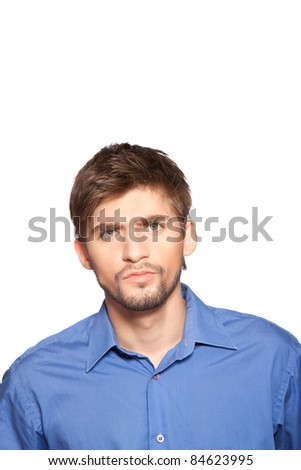 Closeup portrait of angry serious business man isolated over white background - stock photo