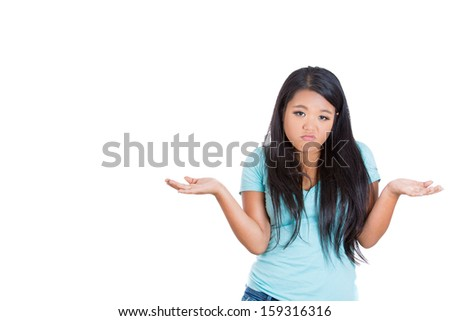 Closeup portrait of angry woman or worker or student with arms out asking what's the problem, who cares, so what or I don't know. Isolated on white background with copy space - stock photo