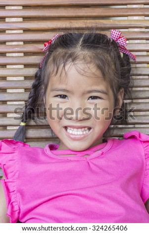 Closeup portrait of Asian little girl