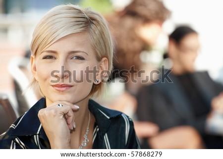 Closeup portrait of attractive businesswoman, thinking. - stock photo