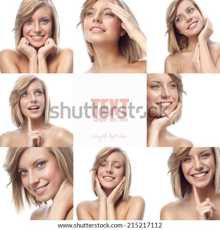closeup portrait of attractive  caucasian smiling woman blond isolated on white studio shot lips toothy smile face hair head and shoulders looking at camera blue eyes tooth collage - stock photo