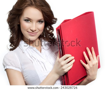 closeup portrait of attractive  caucasian smiling woman brunette isolated on white studio shot  face hair head and shoulders looking at camera businesswoman papers folders - stock photo