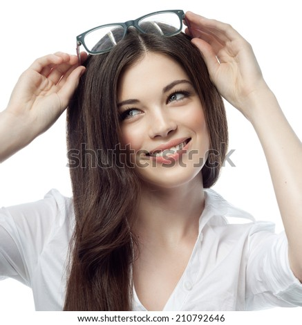 closeup portrait of attractive  caucasian smiling woman brunette isolated on white studio shot lips toothy smile face hair head and shoulders tooth glasses businesswoman
