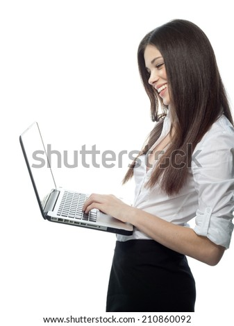 closeup portrait of attractive  caucasian smiling woman brunette isolated on white studio shot lips toothy smile face hair head and shoulders looking at laptop notebook printing - stock photo