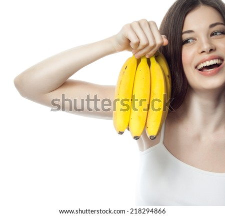 closeup portrait of attractive  caucasian smiling woman brunette isolated on white studio shot lips toothy smile face hair head and shoulders lfruit diet banans