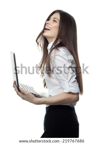 closeup portrait of attractive  caucasian smiling woman brunette isolated on white studio shot lips toothy smile face hair head and shoulders looking up with laptop computer businesswoman - stock photo