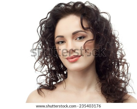 closeup portrait of attractive  caucasian smiling woman brunette isolated on white studio shot lips  face hair head and shoulders looking at camera - stock photo