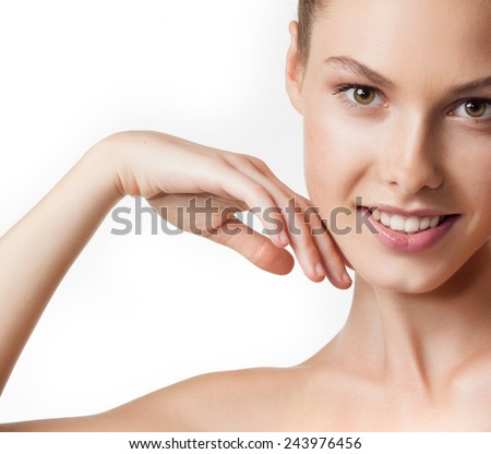 closeup portrait of attractive  caucasian smiling woman brunette isolated on white studio shot lips toothy smile face  head and shoulders looking at camera tooth arm pit - stock photo