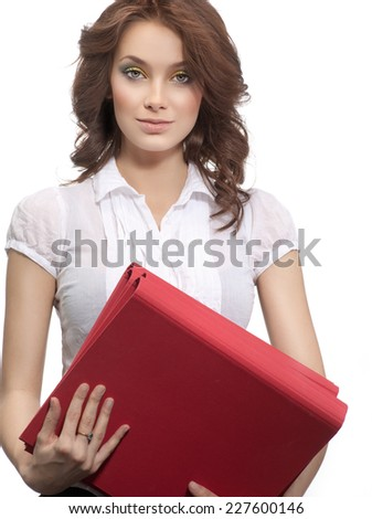closeup portrait of attractive  caucasian woman brunette isolated on white studio shot  face hair head and shoulders looking at camera businesswoman papers folders - stock photo