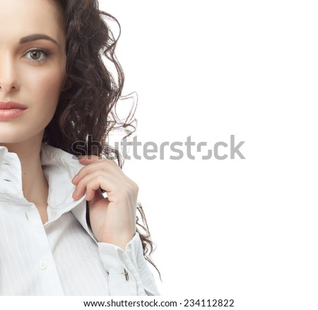 closeup portrait of attractive  caucasian  woman brunette isolated on white studio shot  face hair head and shoulders looking at camera businesswoman - stock photo