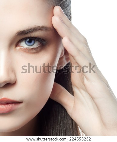 closeup portrait of attractive  caucasian  woman brunette isolated on white studio shot lips  face hair head and shoulders looking at camera time watches - stock photo