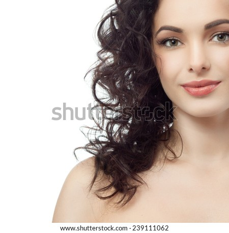 closeup portrait of attractive  caucasian woman brunette isolated on white studio shot lips  face hair head and shoulders looking at camera  - stock photo
