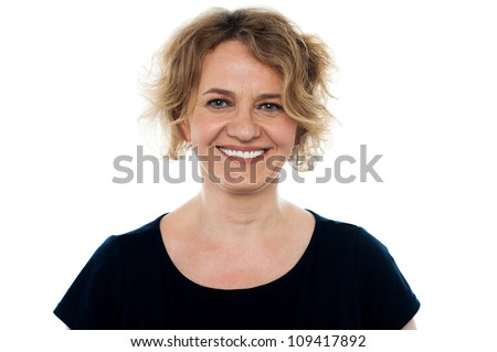 Closeup portrait of attractive senior woman isolated on white background - stock photo