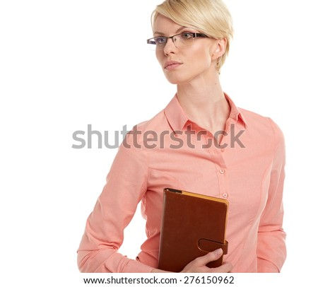 Closeup portrait of attractive young blonde businesswoman, smiling, - stock photo