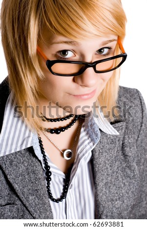 closeup portrait of attractive young businesswoman on white background - stock photo