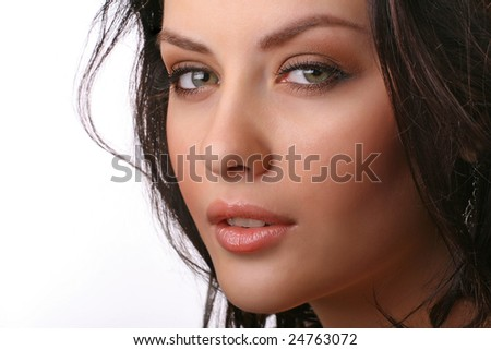 closeup portrait of attractive young woman isolated on white background - stock photo