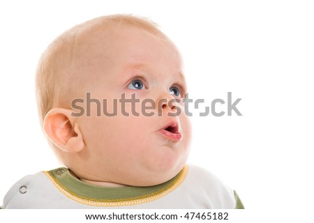 Closeup portrait of baby a on white background