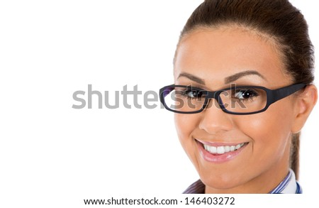 Closeup portrait of beautiful, adorable woman wearing glasses, isolated on white background with copy space - stock photo