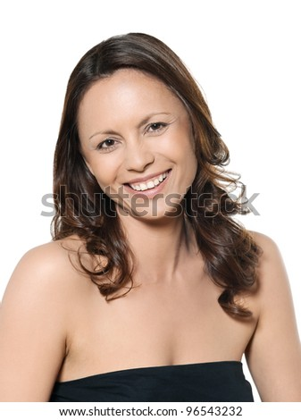 Closeup portrait of beautiful Asian woman toothy smiling in studio isolated on white background - stock photo