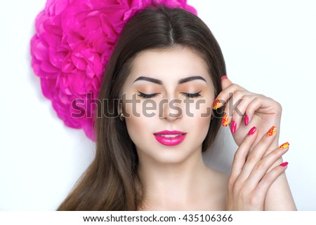 Closeup portrait of beautiful girl woman lady, professional manicure make up, hair styling. Luxury accessory New Bright pink color, shiny lipstick glossy cosmetics. Young pretty photo model vip person - stock photo