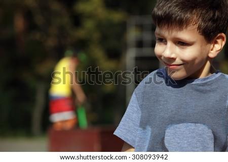 Closeup portrait of beautiful little boy on background  - stock photo