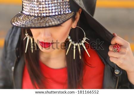 closeup portrait of beautiful oriental girl  wearing flapback - stock photo