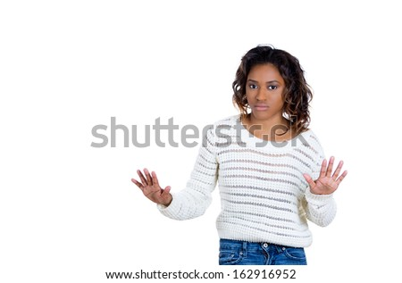 Closeup portrait of beautiful shocked young woman raising hands up to say no stop right there, isolated on white background copy space to left. Negative human emotion facial expression sign symbol - stock photo