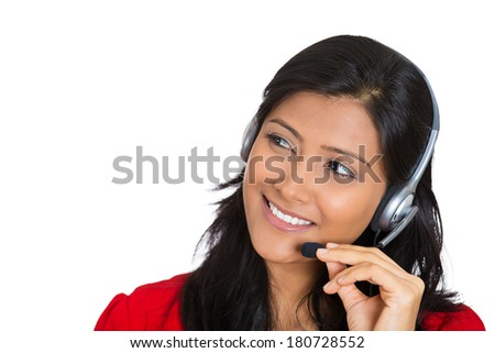 Closeup portrait of beautiful smiling adorable female customer representative business woman with phone headset chatting on line with customer isolated on white background. Human emotions, expressions - stock photo