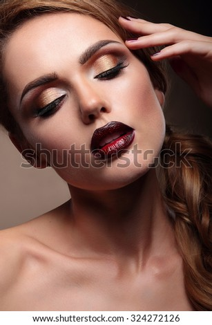 Closeup portrait of beautiful  stylish young woman model with br - stock photo