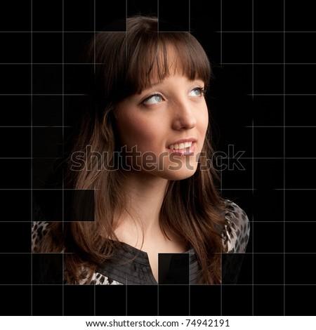 closeup Portrait of beautiful woman - stock photo