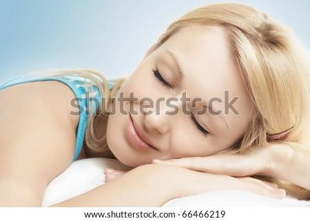 Closeup portrait of beautiful woman sleeping. - stock photo