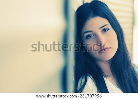 Closeup portrait of beautiful young girl - stock photo