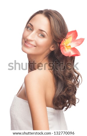 Closeup portrait of beautiful young woman. Health care and beauty concept
