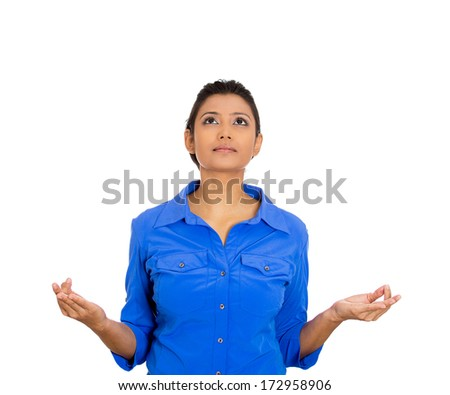 Closeup portrait of beautiful, young woman relaxing, meditating, in zen mode, isolated on white background. Positive emotions, facial expressions, attitude, perception of life, situation, signs symbol - stock photo