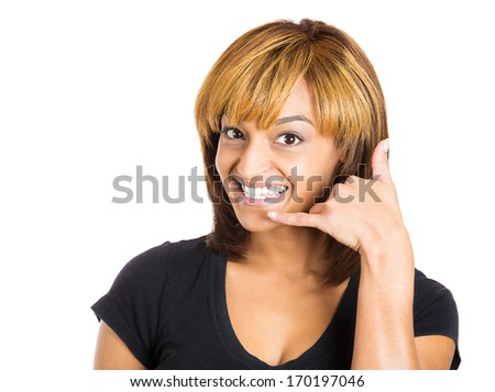 Closeup portrait of beautiful young woman showing call me phone hand sign gesture smiling happy, isolated on white background. Positive emotion facial expression feelings, body language, symbols - stock photo