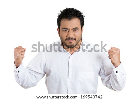 Closeup portrait of bitter displeased pissed off, angry grumpy man closed mouth, fists in air about to bash something, isolated on white background. Negative human emotion facial expression feeling - stock photo