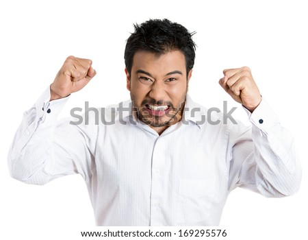 Closeup portrait of bitter displeased pissed off, angry grumpy man open mouth, fists in air about to bash something, isolated on white background. Negative human emotion facial expression feeling - stock photo