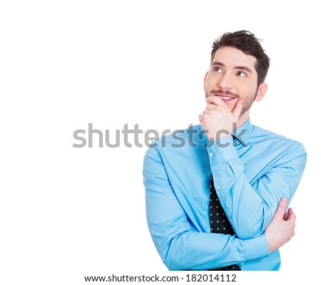 Closeup portrait of charming, smiling joyful, happy, young man looking upwards daydreaming something nice, thinking isolated on white background. Positive human emotions, facial expressions feelings - stock photo