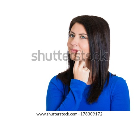 Closeup portrait of charming, smiling joyful, happy, young woman looking upwards daydreaming something nice, thinking isolated on white background. Positive human emotions, facial expressions feelings - stock photo