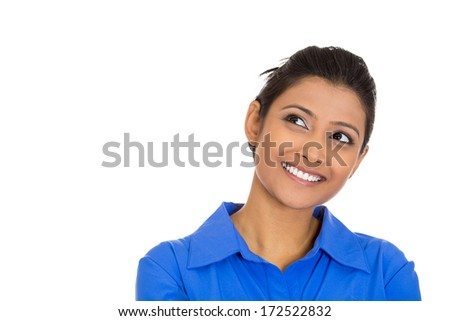 Closeup portrait of charming upbeat smiling joyful happy young woman looking upwards daydreaming something nice, isolated on white background. Positive human emotions facial expressions feelings - stock photo